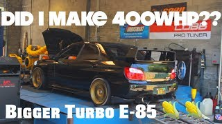 DYNO DAY!! STOCK BLOCK Subaru WRX STI makes 400WHP on bigger turbo??