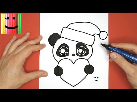 Dessin Sympa Et Facile Pour Noël Panda Avec Un Coeur Et