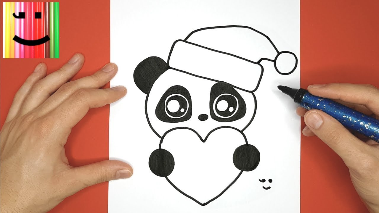 Cute Baby Panda For Christmas Draw And Color