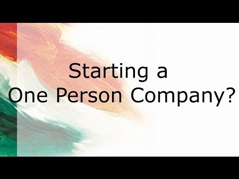Starting a One Person Company?