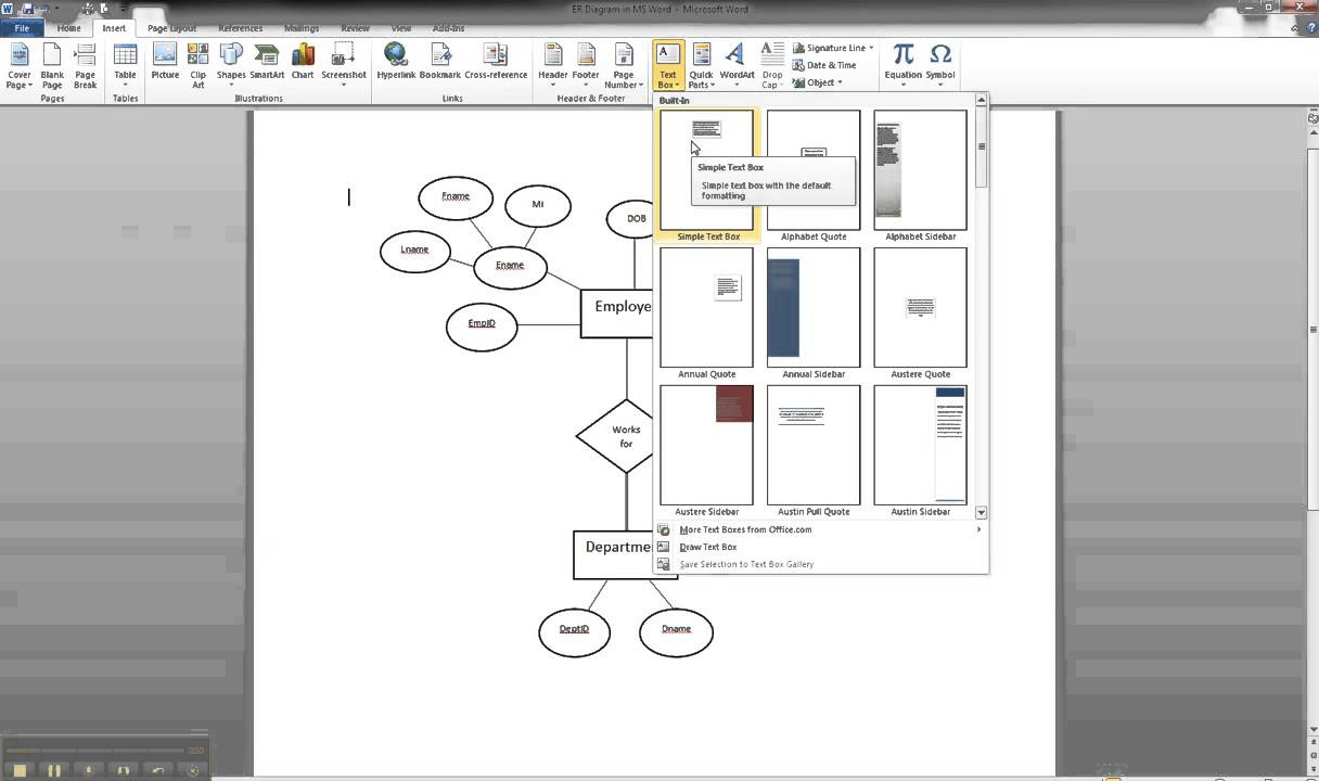 ER Diagram in MS Word Part 8 - Illustrating Cardinality - YouTube