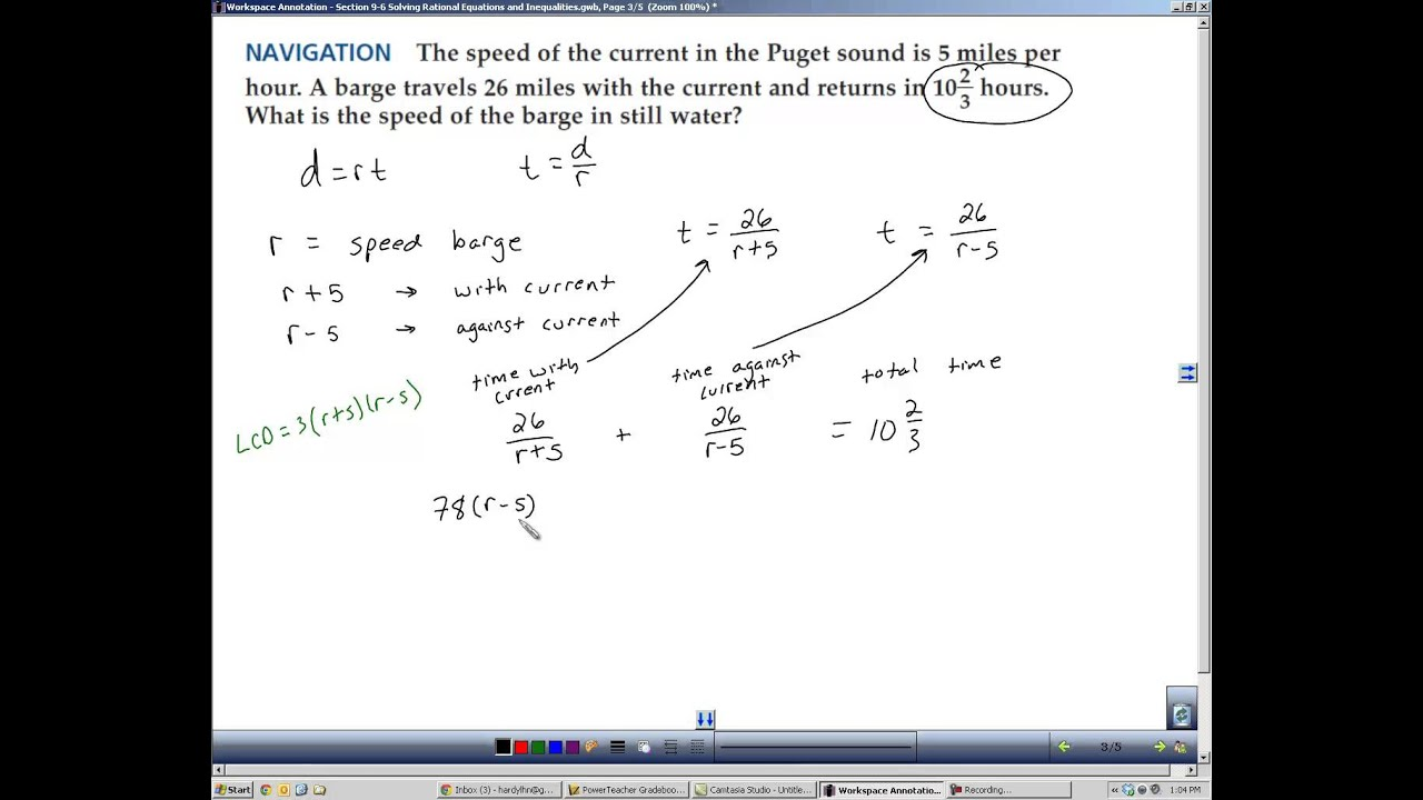 Algebra 2 Section 9 6 Solving Rational Equations And