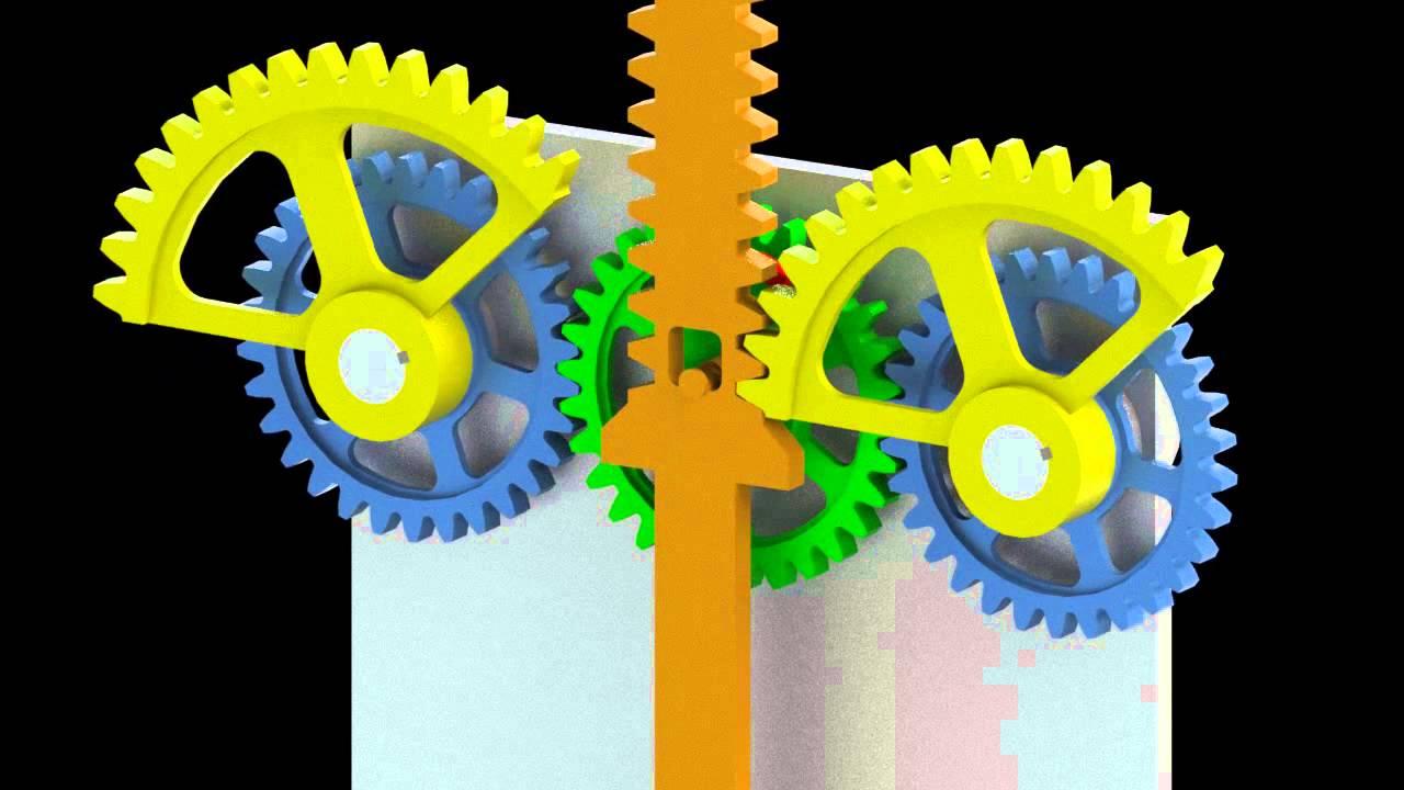 Reciprocating Gear Mechanism : Reciprocating mechanism with segmented gears d model