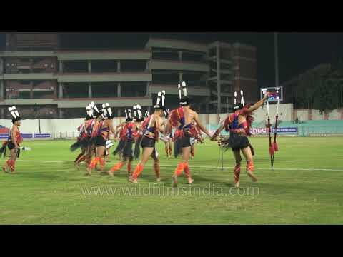 Sumi folk dancers chant and dance during Tamchon Trophy, Delhi