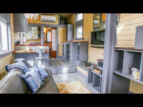 Amazing Cozy Squibb Custom Tiny Home on Wheels Featuring Generous Porch