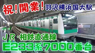 祝!開業!羽沢横浜国大駅を発車するE233系7000番台【JR・相鉄直通線】