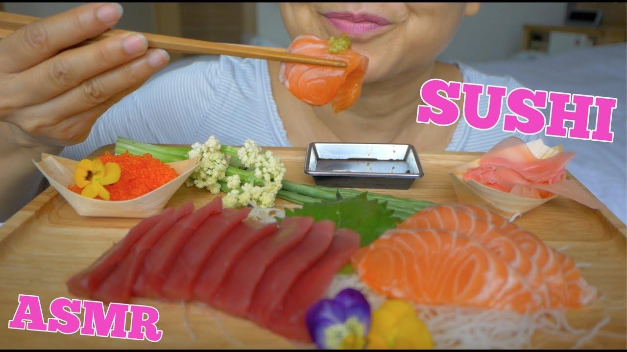 ASMR Salmon & Tuna Sashimi in Japan | แซลมอลดิบ | Eating Sounds | Light Whispers | Nana Eats