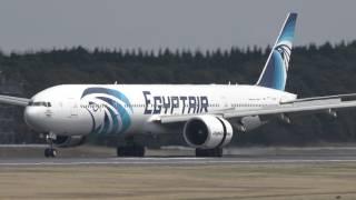 【4K】エジプト航空 Boeing777-36N/ER 成田34R Landing 東雲の丘