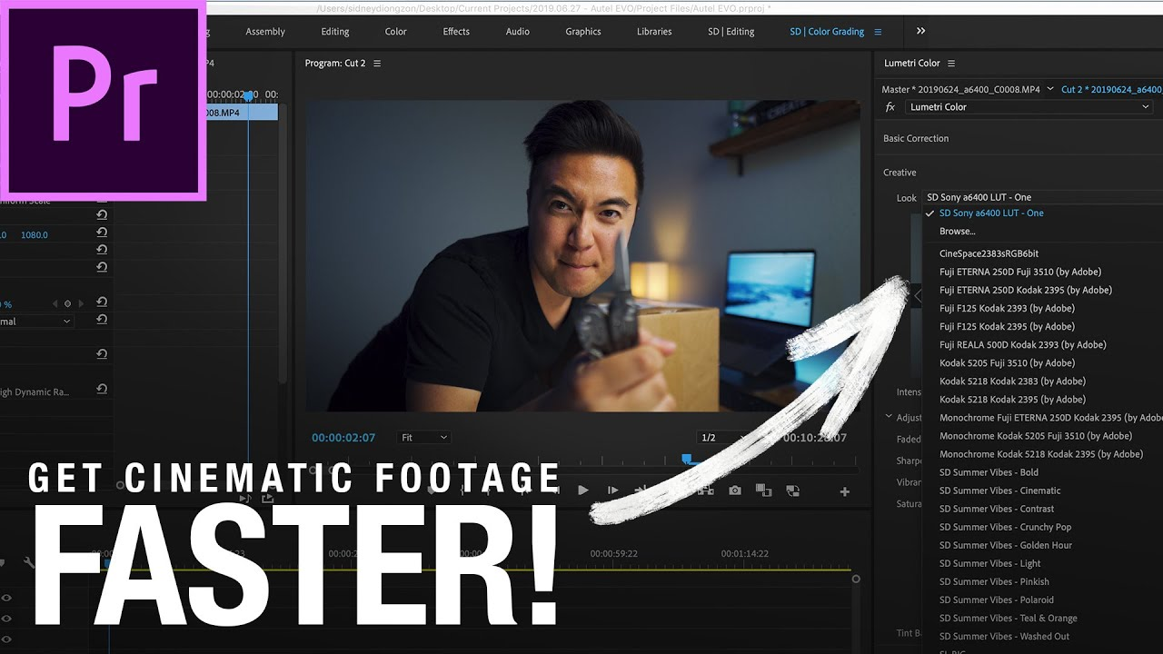 FASTER way to color grade with LUTS in PREMIERE PRO!