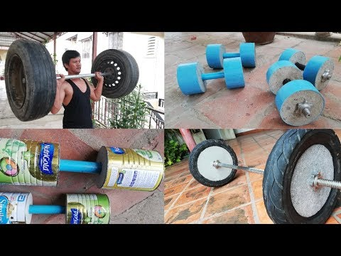 4 Awesome To Make Homemade Dumbbell & Barbell / Gym At Home