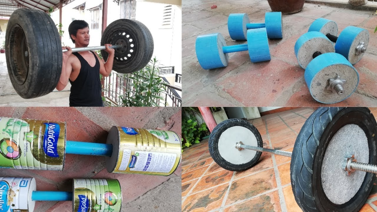 4 Awesome To Make Homemade Dumbbell Barbell Gym At Home Youtube
