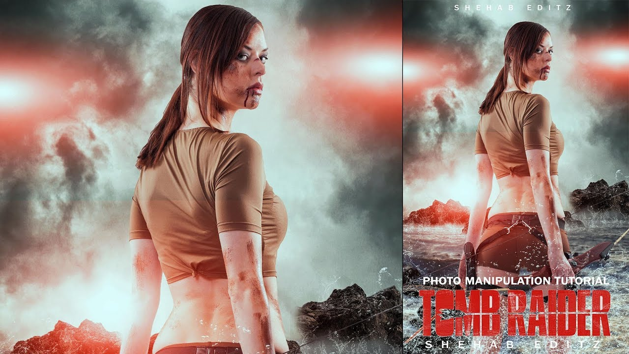 Make A Movie Poster In Photoshop Tomb Raider 2018 Photoshop Tutorial Youtube