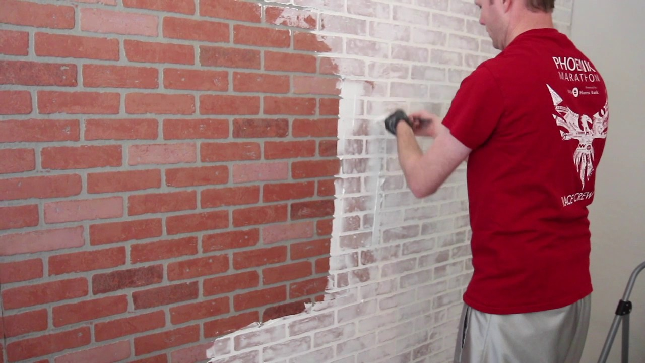 how to german schmear a faux brick wall whitewashing a faux brick wall youtube. Black Bedroom Furniture Sets. Home Design Ideas