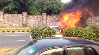 Fire turns CNG car into Flamethrower! PVR prevents BLEVE