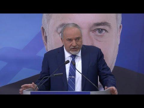 """יו""""ר ישראל ביתנו, אביגדור ליברמן, בכנס פתיחת קמפיין הבחירות של המפלגה"""
