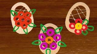 технология 2 класс корзина с цветами из ниток как сделать