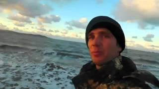 Море , зима .