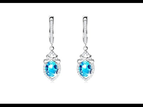 Jewellery - 925 silver earrings, zircon drop with light blue oval