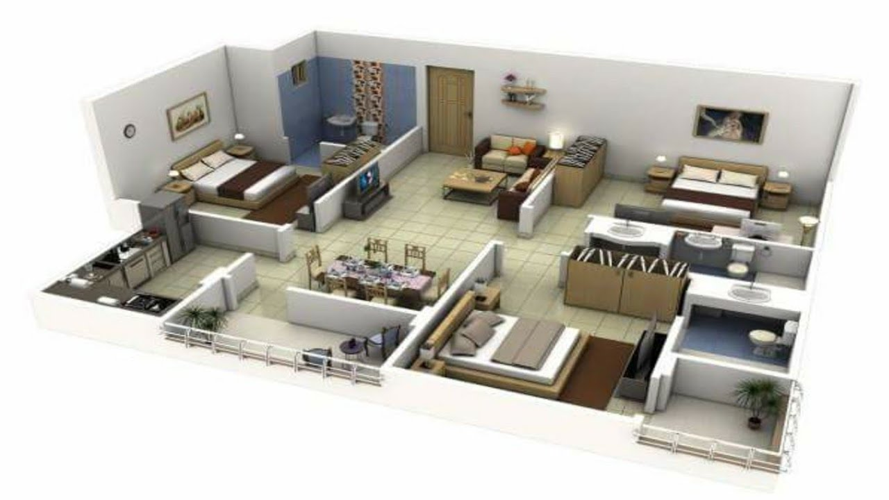 Amazing 3 Bhk Apartmenthouse Plans Home Map Design Home Design Sketchup Floor Plan Design