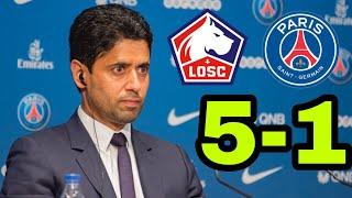 NASSER AL-KHELAIFI APRÈS LA DÉFAITE DU PSG 5-1 CONTRE LILLE 😂😂😂😂 (LOSC - PSG)