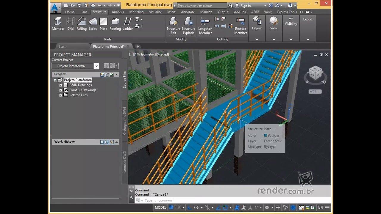 Curso autocad plant 3d 2016 modelagem de estruturas for Plante 3d dwg