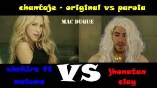 chantaje  parodia VS original - shakira, maluma, jonatan clay thumbnail