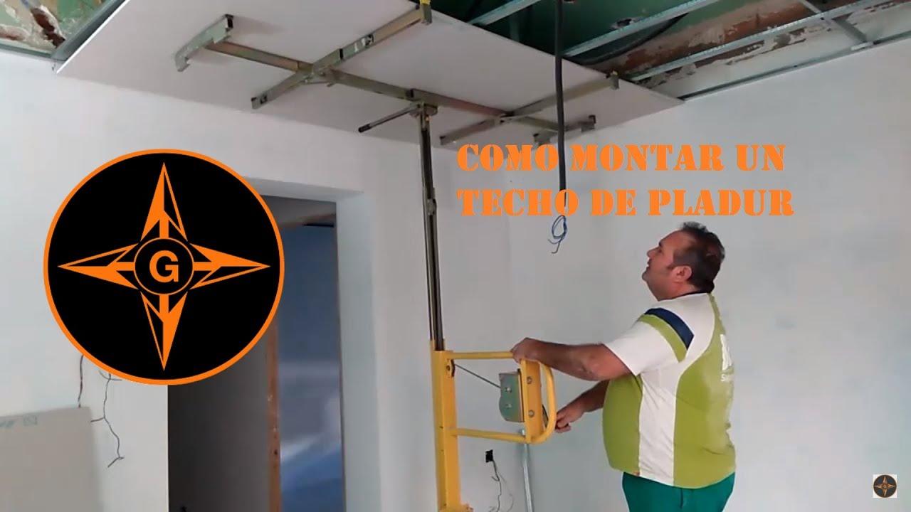 Como hacer un falso techo de pladur knauf durlock drywall placo paso a paso how to drywall youtube - Como hacer un falso techo ...