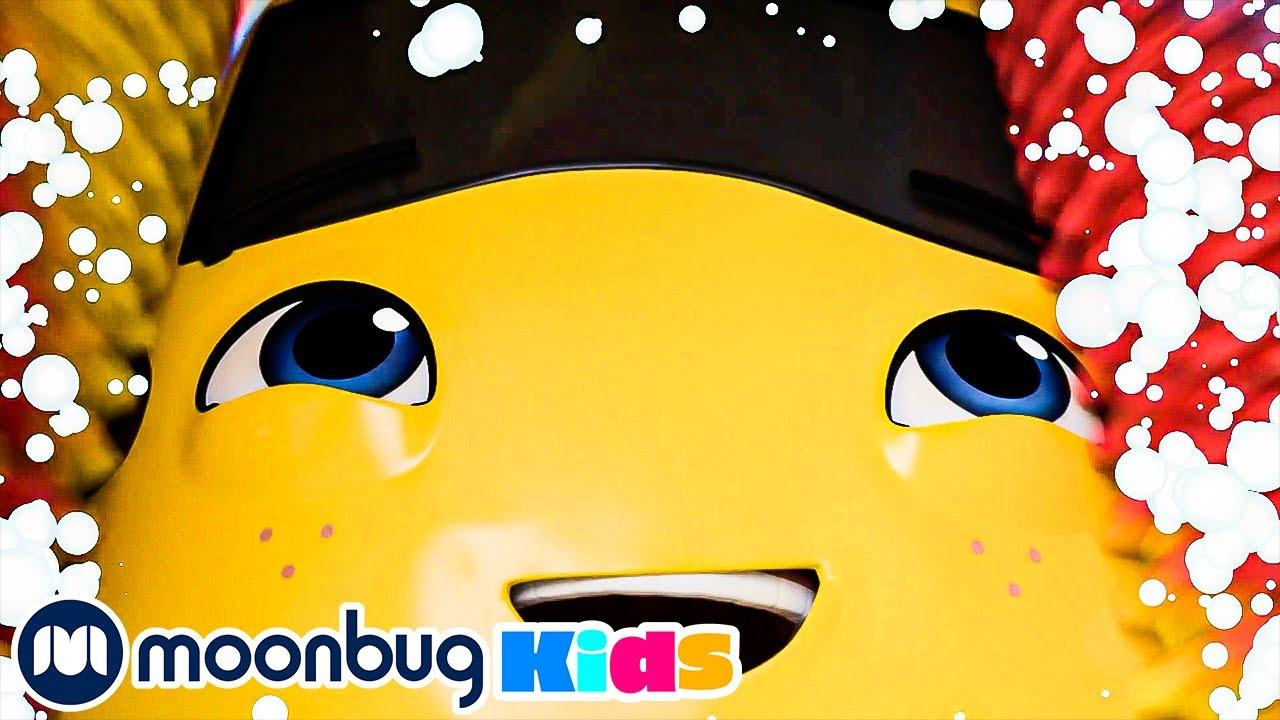 Buster And The Carwash   Cars, Trucks & Vehicles Cartoon   Moonbug Kids