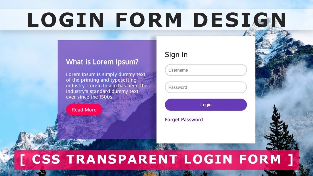 Create a Login Form with HTML & CSS - Transparent login ...