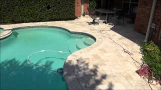 Pool  reconstruction  travertine pavers   tile  plaster  Dallas  Fort  Worth