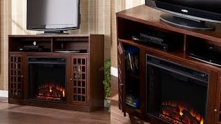 Sei Narita Media Console With Electric Fireplace Contemporary Styling And Relaxing Glow Of Fire
