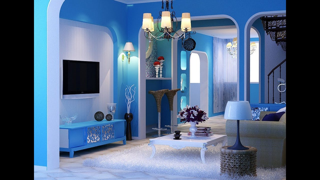 living room paint ideas 2016 high gloss white furniture blue decorating - youtube