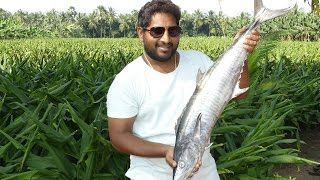 COOKING BIG KING FISH | 18KG'S BIG FISH FRY MAKING IN BANANA LEAF | VERY RARE RECIPE street food