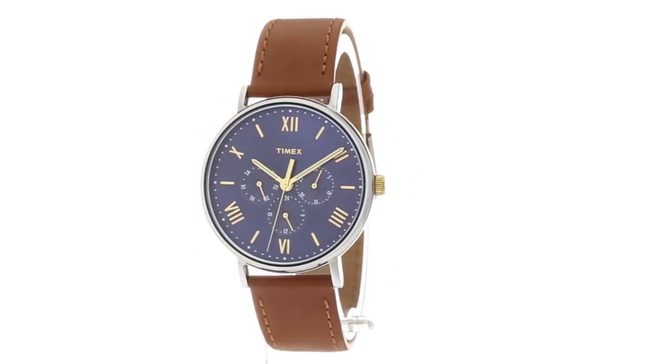 dde059150 Timex Southview 41 Multifunction Leather Strap SKU:8895700 - YouTube