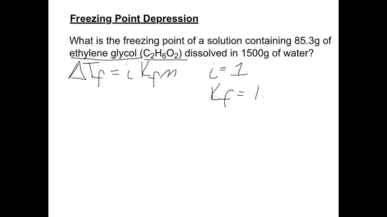 Freezing Point Depression Example Youtube