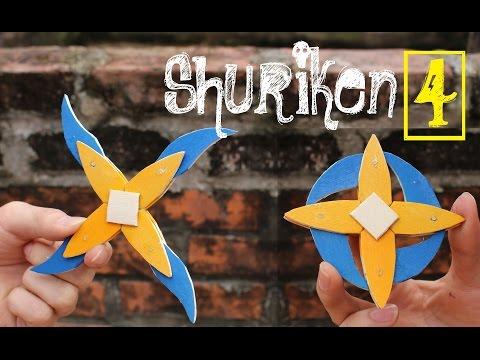 How To Make A Shuriken 4 Branches (Ninja Star) From Popsicle Sticks