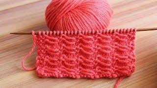 Узор спицами с поперечными протяжками | Transverse broach knitting patterns