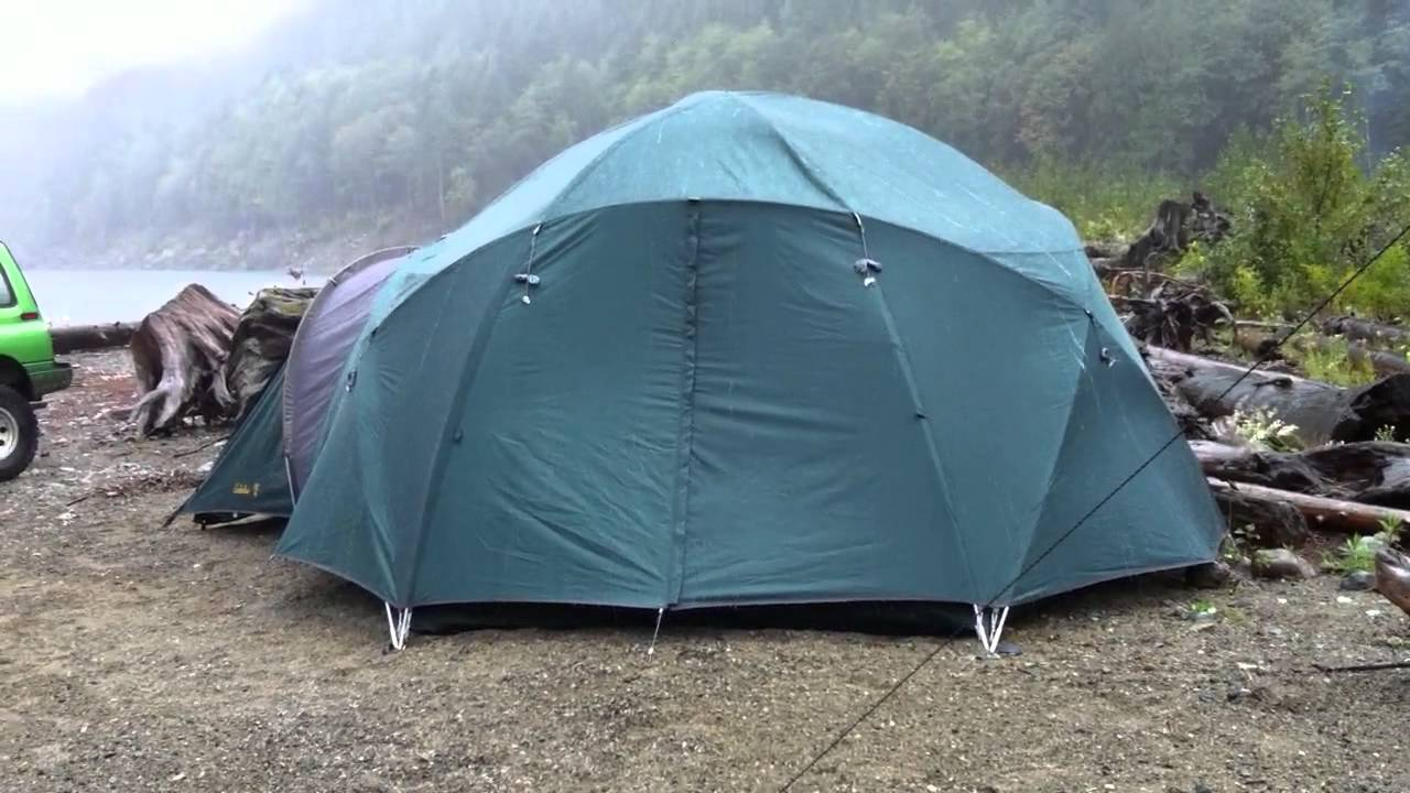 & Cabelau0027s alaskan guide tent in rain - YouTube