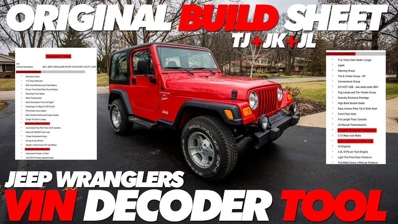 Jeep Build Sheet >> Jeep Wrangler Build Sheet Lookup Tool Vin Decoder Youtube