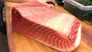 黑鮪魚生魚片切割 ,握壽司 (Tuna Sashimi Cutting u0026 Sushi - Taiwanese Street Food)