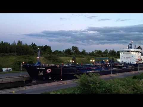 Time-lapse HD Ships St Lawrence Seaway Iroquois Locks Canada Steamship Lines, Algosea