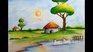 how to draw easy scenery with duck || pond || for children