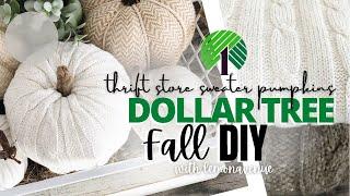 Thrift Store Dollar Tree Sweater Pumpkins NO SEW DIY Dollar Tree