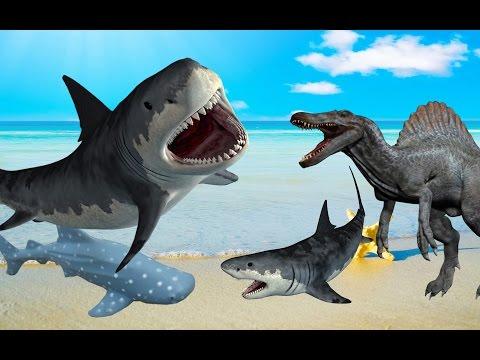 ГИГАНТСКИЕ АКУЛЫ. Спинозавр на охоте. БИТВА ДВУХ ГИГАНТОВ. НОВЫЙ мультфильм про АКУЛ.