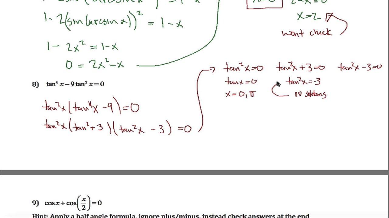 Trig Equations Worksheet Part 2