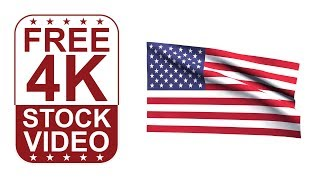 Free Stock Videos – Flag Of USA Waving On White Background 3D Animation