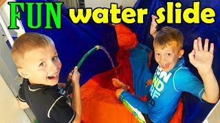 WATERSLIDE DOWN THE STAIRS IN REAL LIFE....WAY Crazier than Kayaking Down the Stairs!!