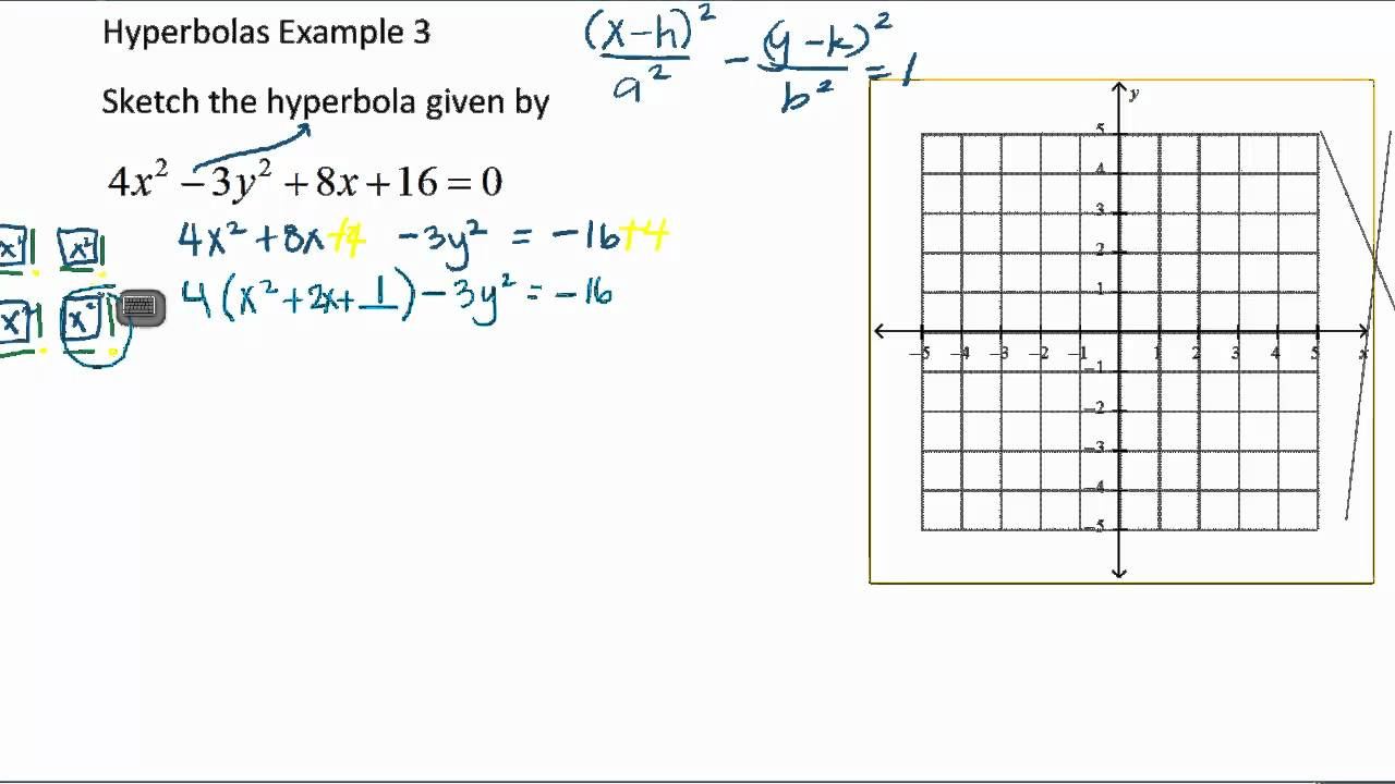 Change The Equation Of A Hyperbola To The Standard Form By Complete
