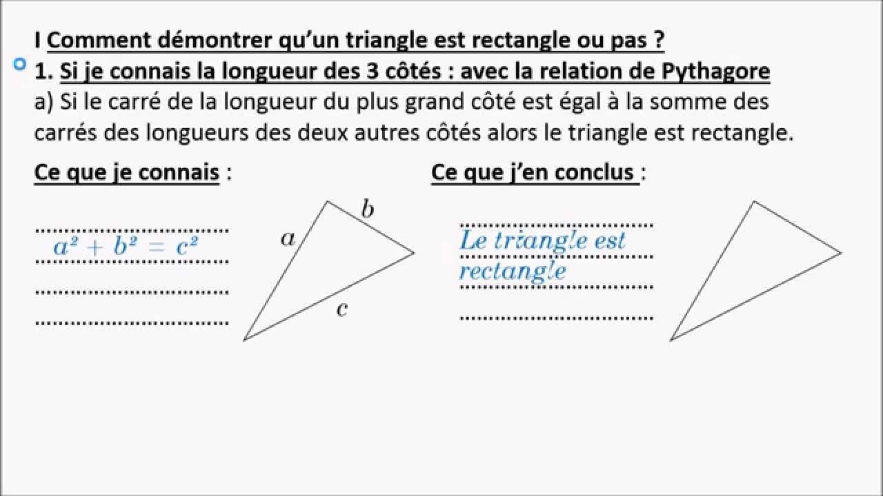 Niveau 3 me t1 rappel comment d montrer qu 39 un triangle for Qu est ce qu un bardage