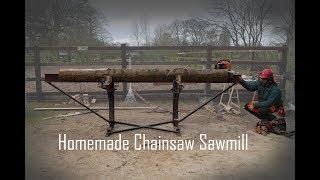Homemade Chainsaw Sawmill Slabbing Ash